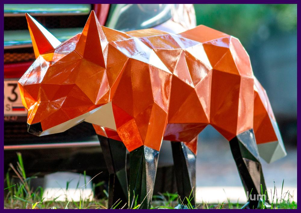 Лиса металлическая полигональная - разноцветный арт-объект для украшения ландшафта