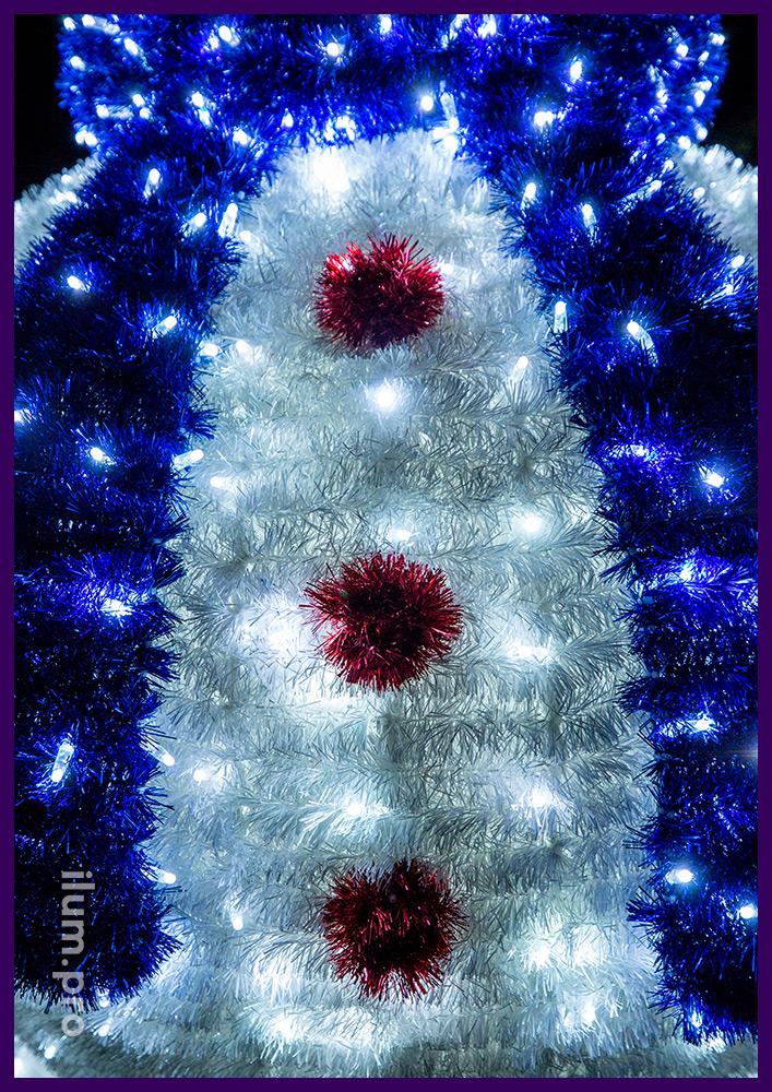 Снеговик из гирлянд и пушистой светодиодной мишуры, новогодняя иллюминация для улицы