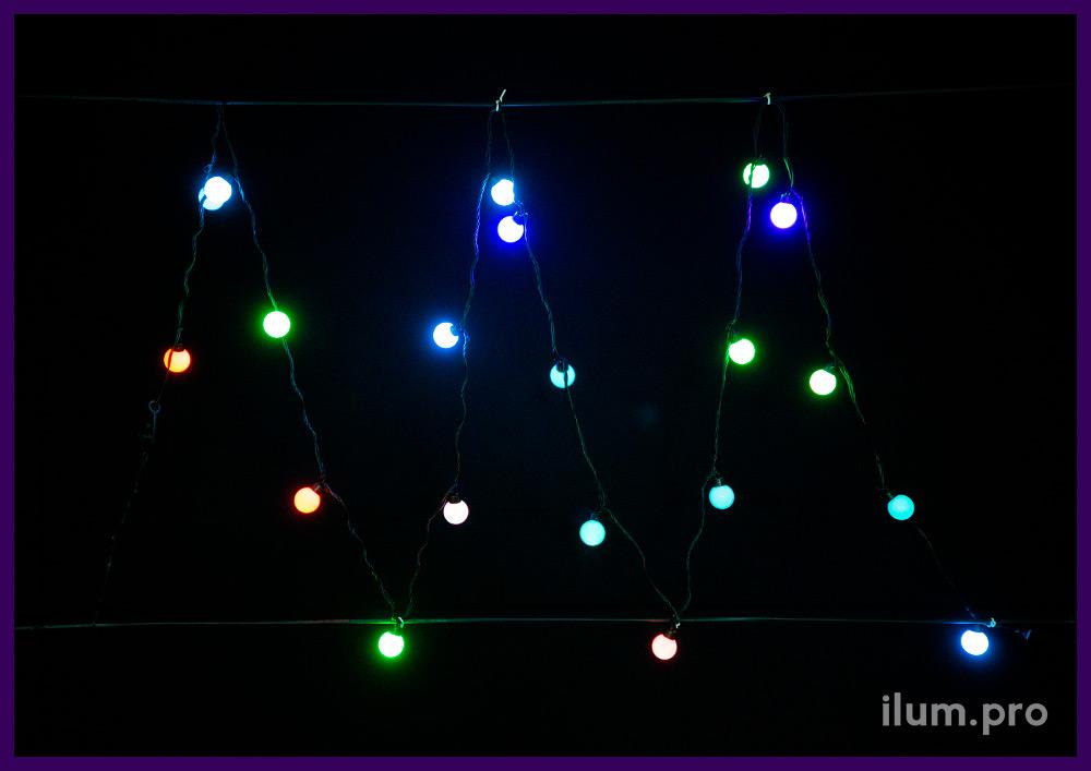 Светодиодные мультишарики с разноцветными RGB лампочками в пластиковом корпусе