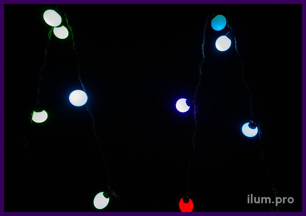 RGB мультишарики с динамической сменой цвета свечения, длина 5 м, диаметр лампочки 4 см