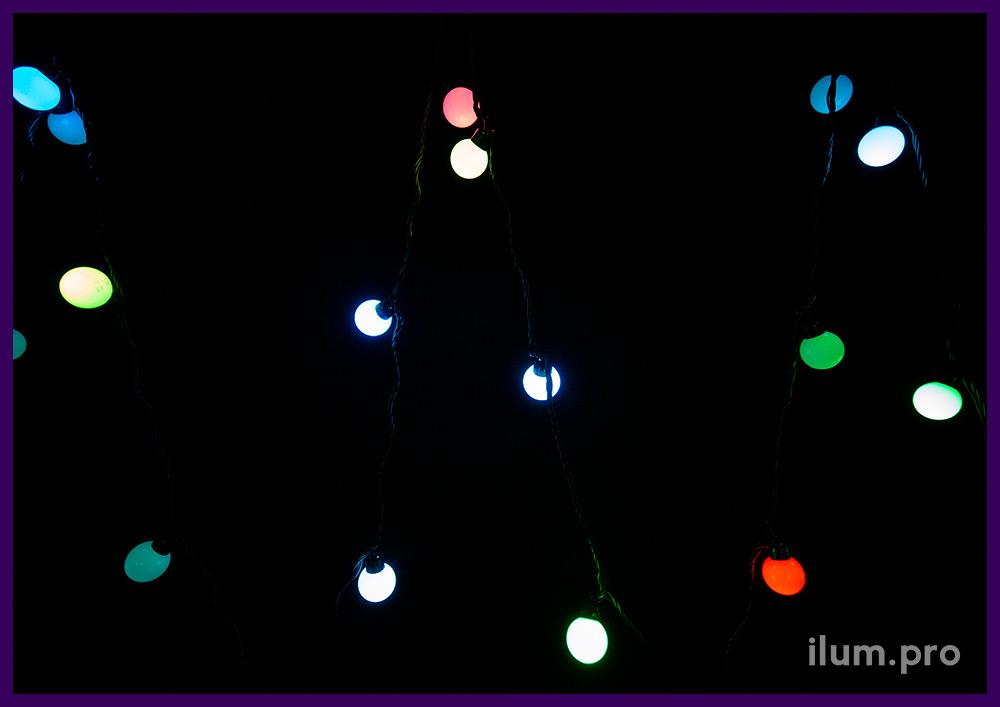 RGB мультишарики 5 м с защитой от осадков IP65, динамическая смена цвета свечения
