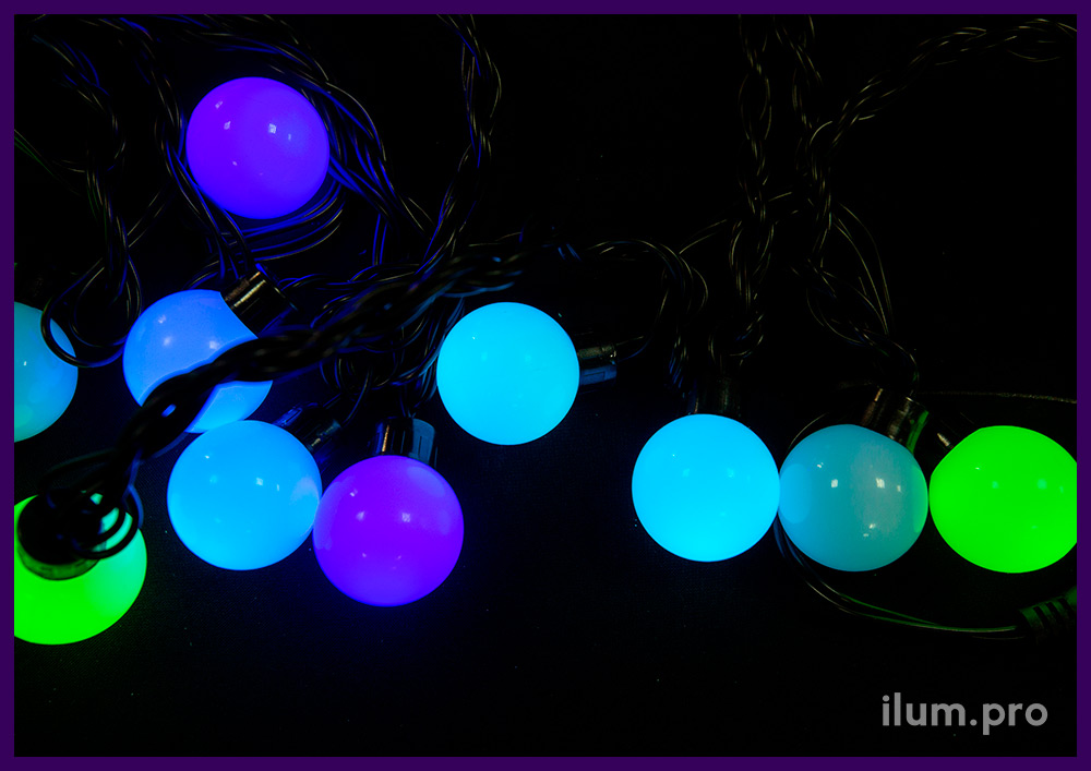 Гирлянда для украшения улицы и интерьера на новогодние праздники - мультишарики RGB, 5 м, динамика