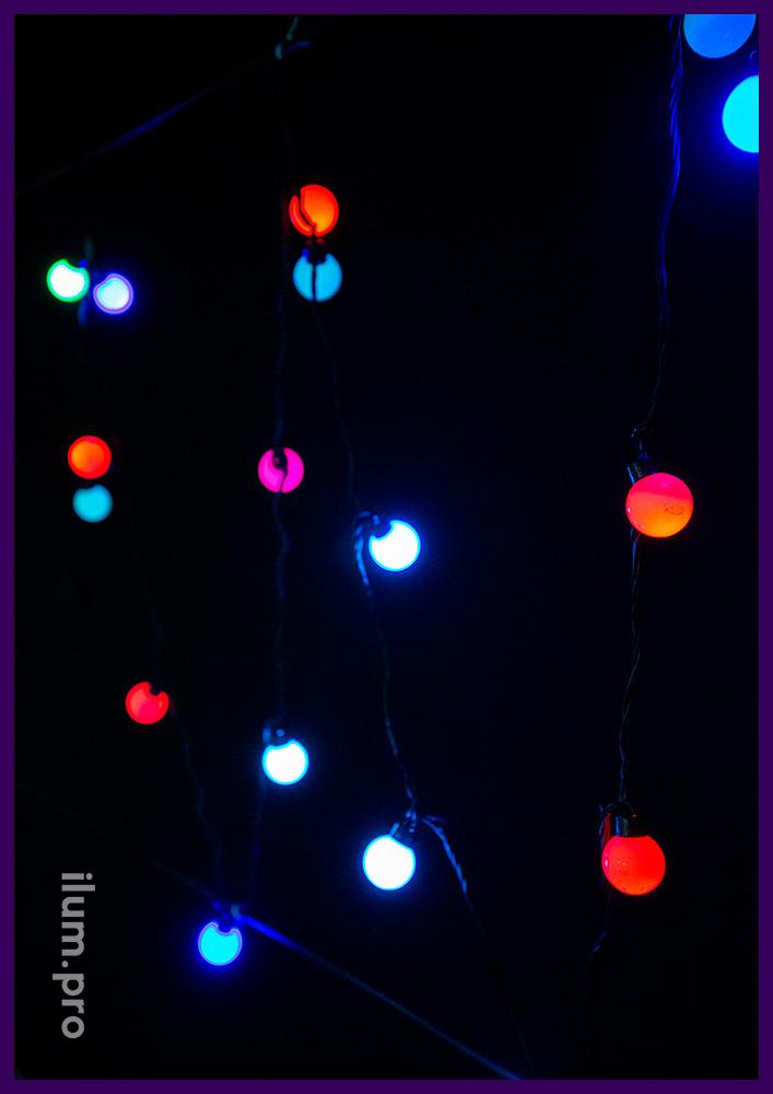Мультишарики с динамической сменой цвета светодиодов, лампочки диаметром 4 см