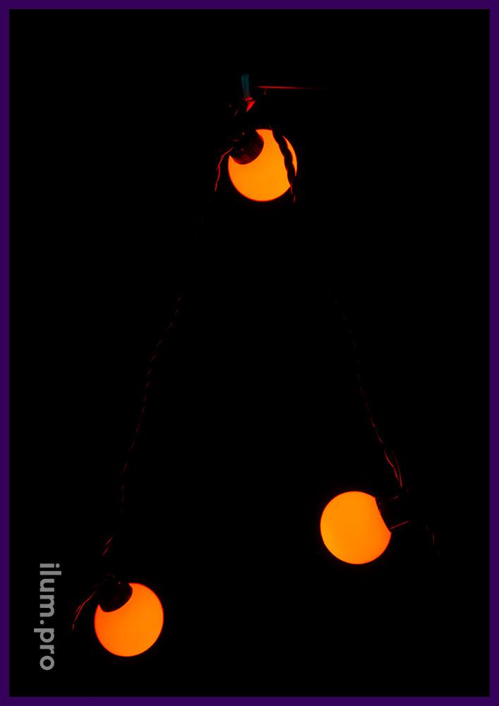 Красные мультишарики, гирлянда на чёрном проводе для улицы и интерьера с лампочками 4 см