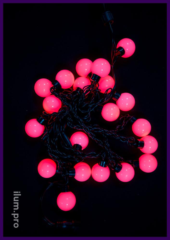 Красная светодиодная иллюминация с крупными лампочками - гирлянда мультишарики