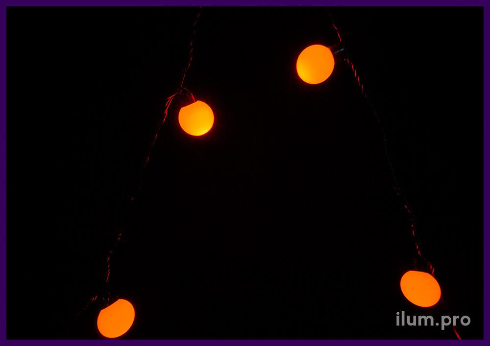 Гирлянда с красными светодиодными шариками, защита от осадков IP65, 20 ламп