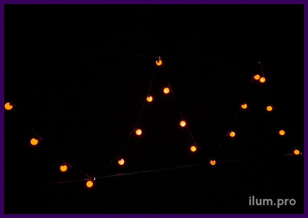 Красные мультишарики с лампочками диаметром 4 см, гирлянда для улицы и помещения