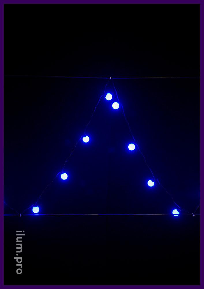 Гирлянда с синими лампочками диаметром 4 см, мультишарики, 5 м, чёрный ПВХ, статика