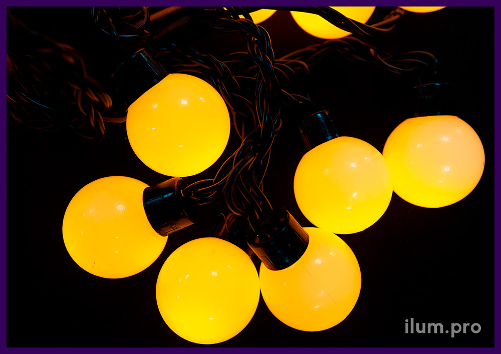 Мультишарики с жёлтым цветом свечения, для улицы и помещений, гирлянда с защитой от осадков и мороза