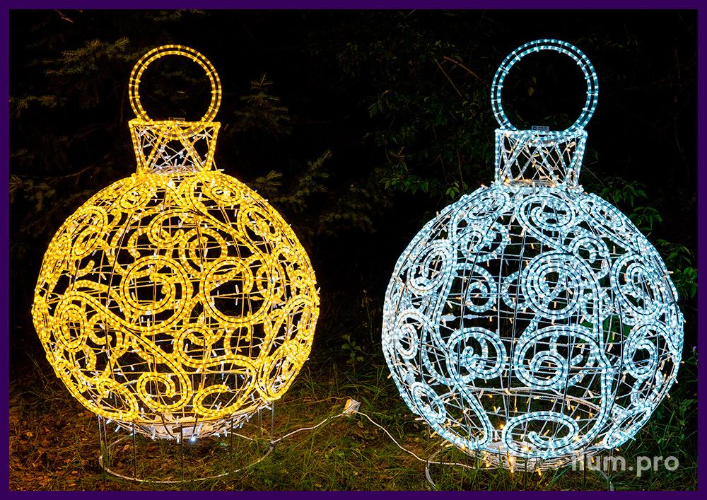 Шарики с гирляндами для новогоднего украшения территории, иллюминация IP65