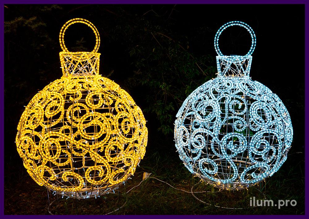 Декоративные фигуры с подсветкой гирляндами на Новый год в форме ёлочных игрушек