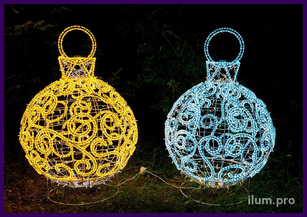 Шар с гирляндами и завитками из светового шнура на каркасе из алюминия