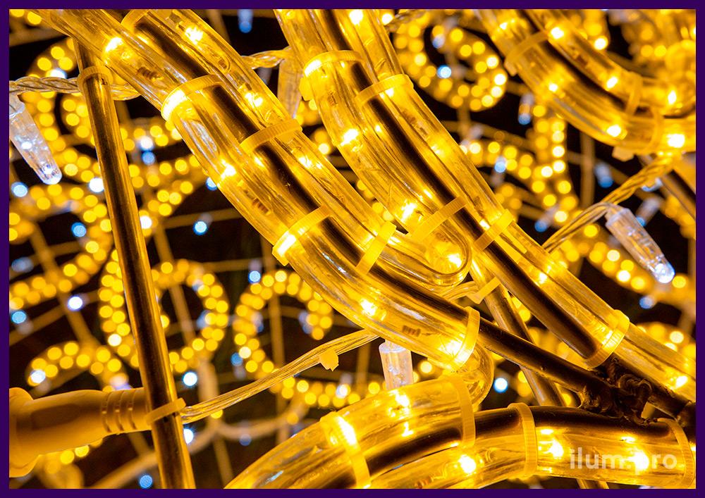 Шар светящийся из алюминиевого каркаса, дюралайта и стринга - новогодние декорации