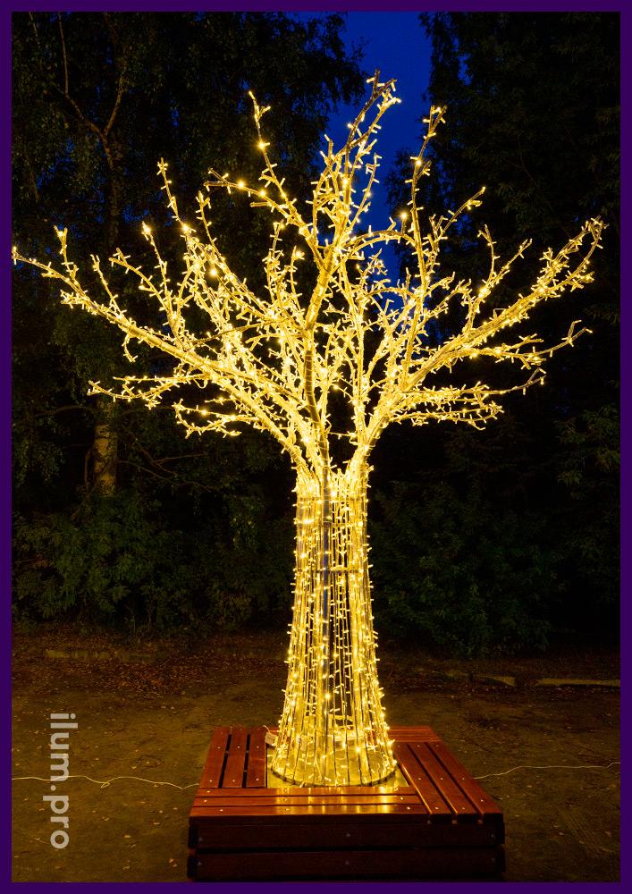 Деревья светящиеся с гирляндами на металлическом каркасе из алюминия