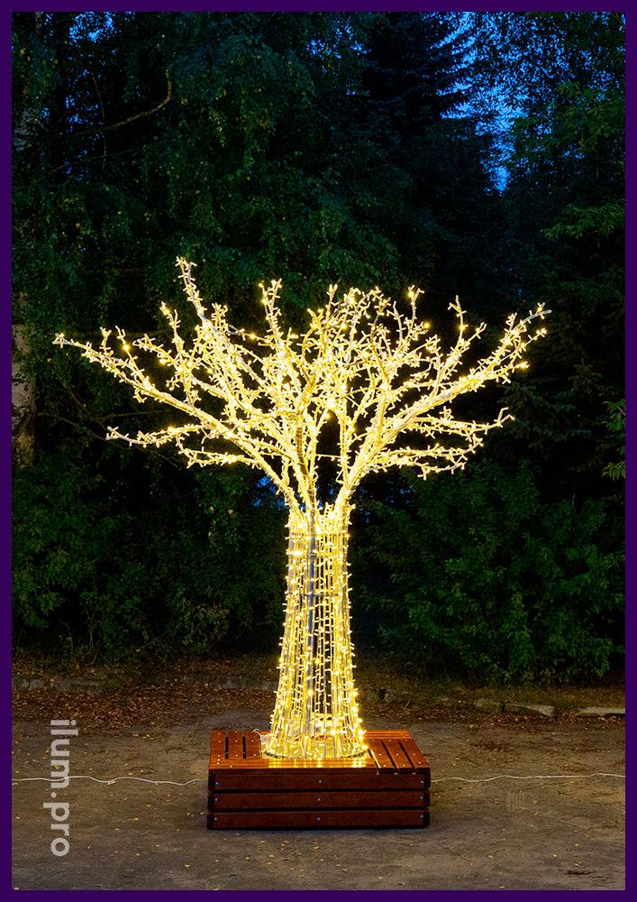 Небольшое светодиодное дерево из алюминиевого каркаса и гирлянд с защитой от осадков