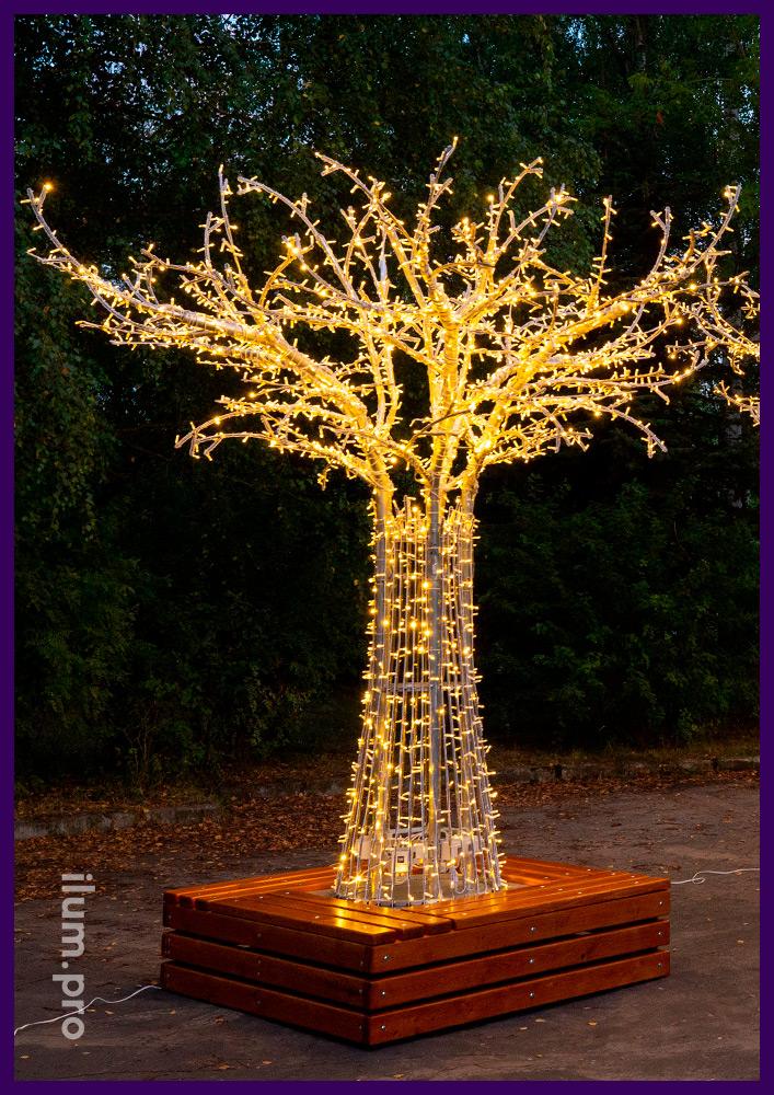 Дерево с гирляндами и скамейкой, каркас из алюминия - декорации для города на Новый год