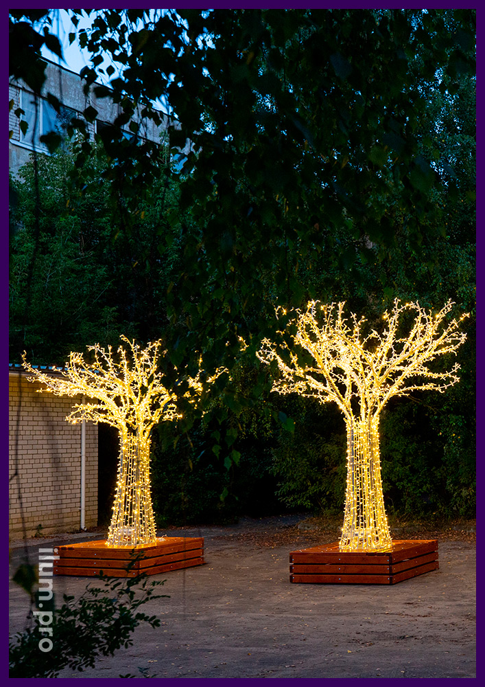 Большие светодиодные деревья с гирляндой, алюминиевый каркас, защита IP65