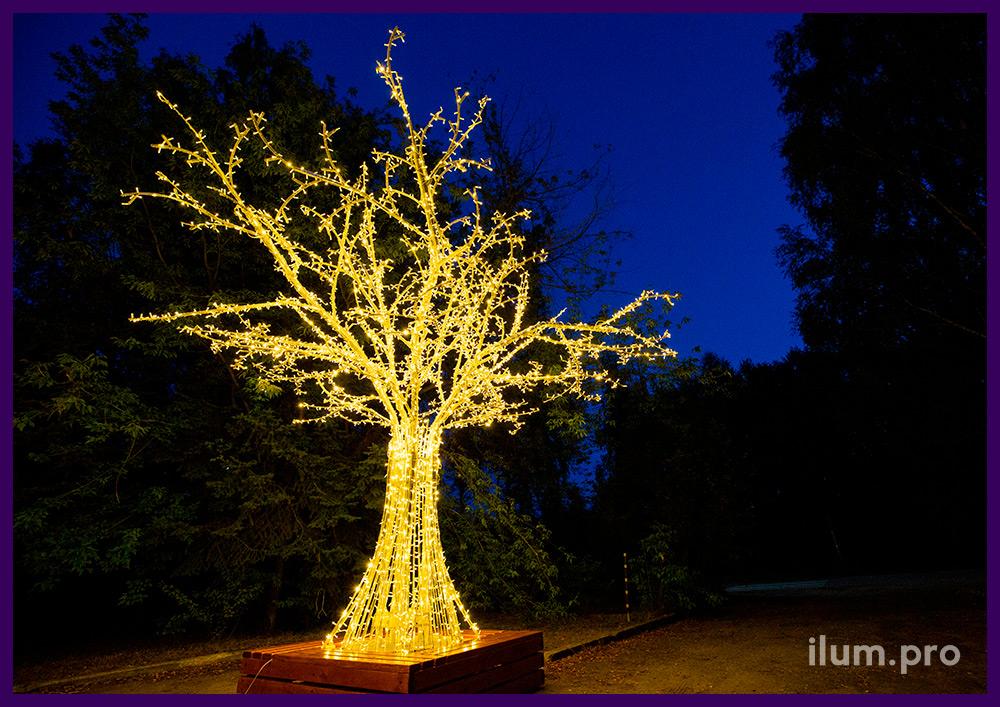 Декорации с подсветкой гирляндами в форме деревьев из алюминия