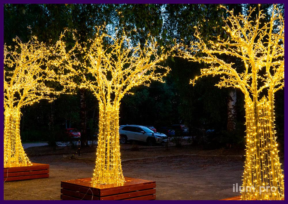 Маленькое светодиодное дерево со скамейкой, алюминиевый каркас с гирляндами