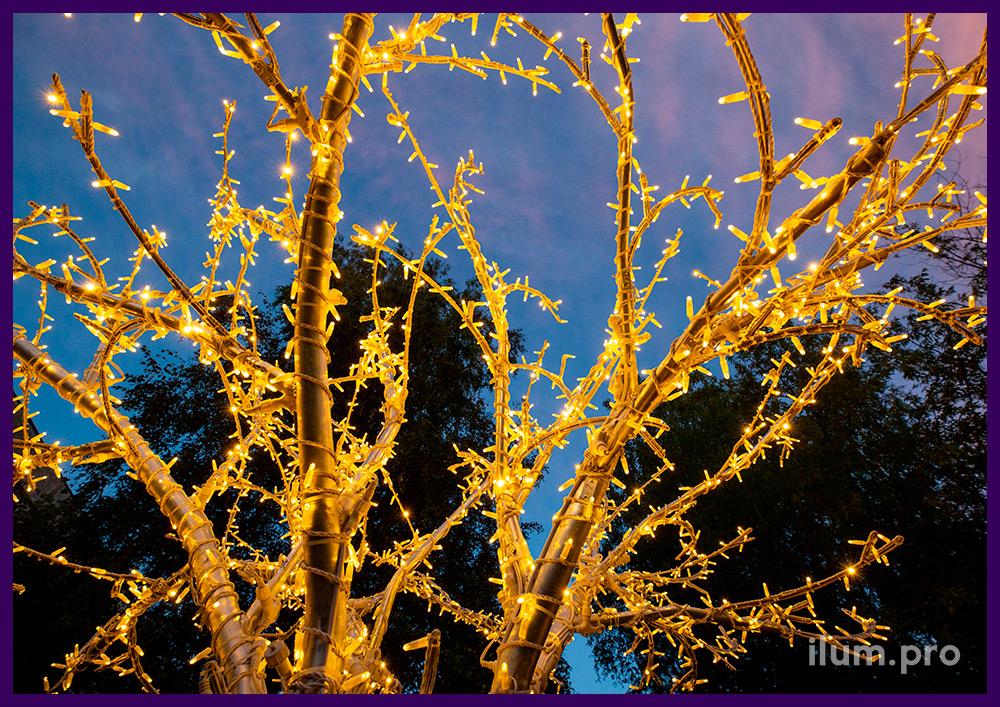 Три светящихся дерева из алюминия и гирлянд, нержавеющие декорации с подсветкой