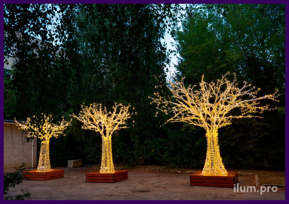 Деревья из металлического каркаса и светодиодных гирлянд высотой 3, 4 и 5 метров