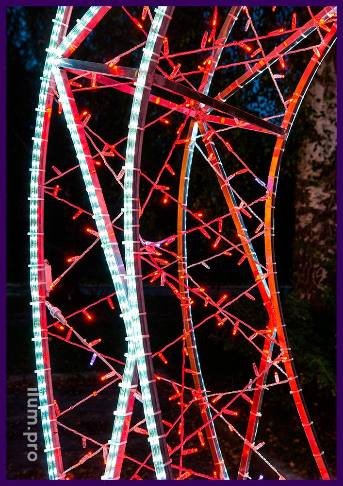 Арка металлическая с подсветкой гирляндами и дюралайтом разных цветов в Тыве