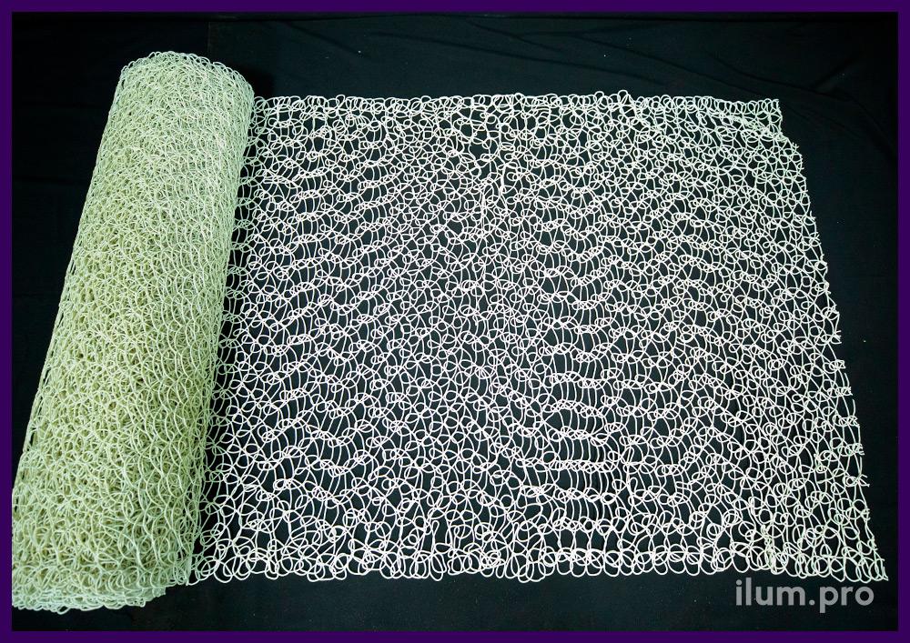 Новогодний декоративный материал в форме сетки из ПВХ белого цвета, длина 10 м
