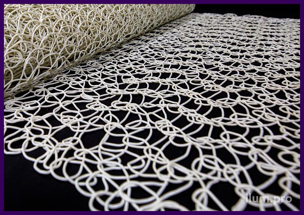 Сетка белая декоративная из эластичного ПВХ в рулонах длиной 10 метров и шириной 1 метр
