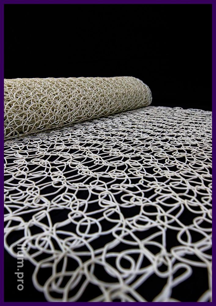 Сетка пластиковая с петлями из PVC (ПВХ) белого цвета, рулон длиной 10 м, ширина 1 м