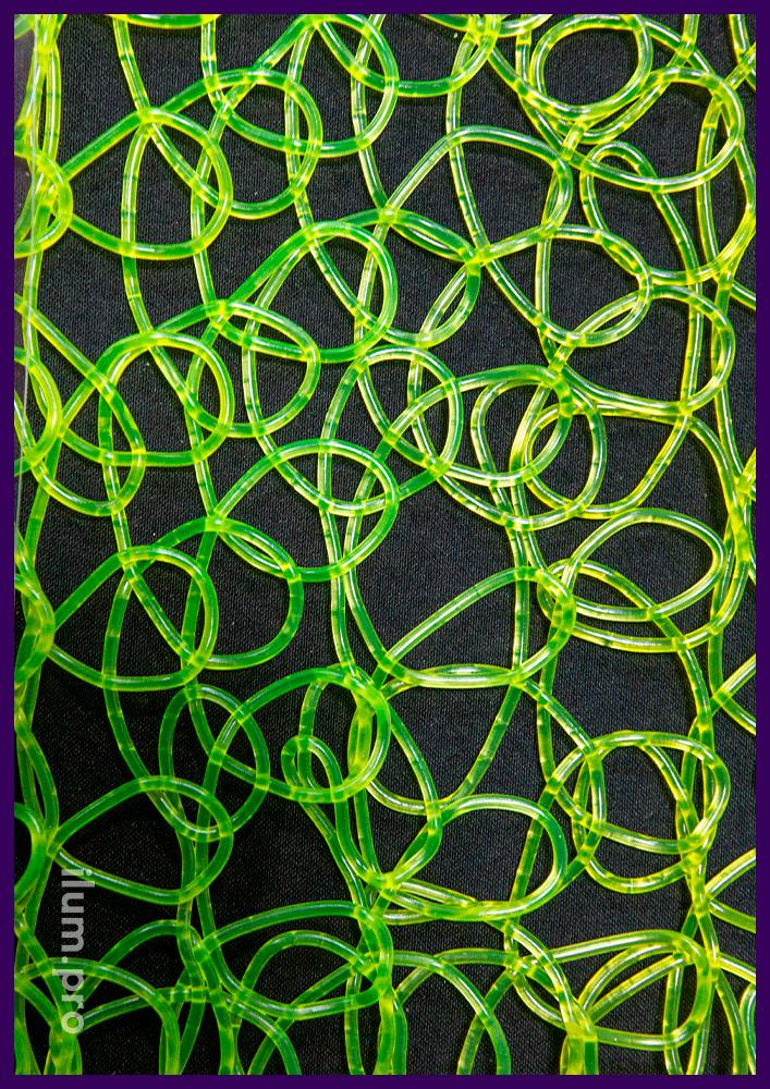 Зелёная сетка из ПВХ для украшения декоративных фигур с гирляндами на Новый год