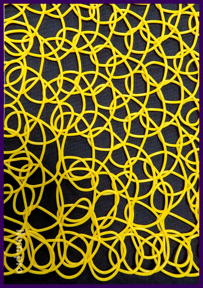 Жёлтая пластиковая сетка из эластичного пластика, декоративное покрытие на Новый год