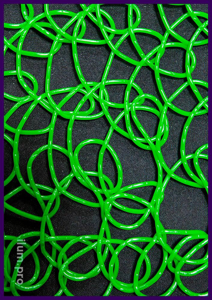 Сетка из прессованных петель для декоративных фигур с подсветкой гирляндами, зелёный цвет ПВХ