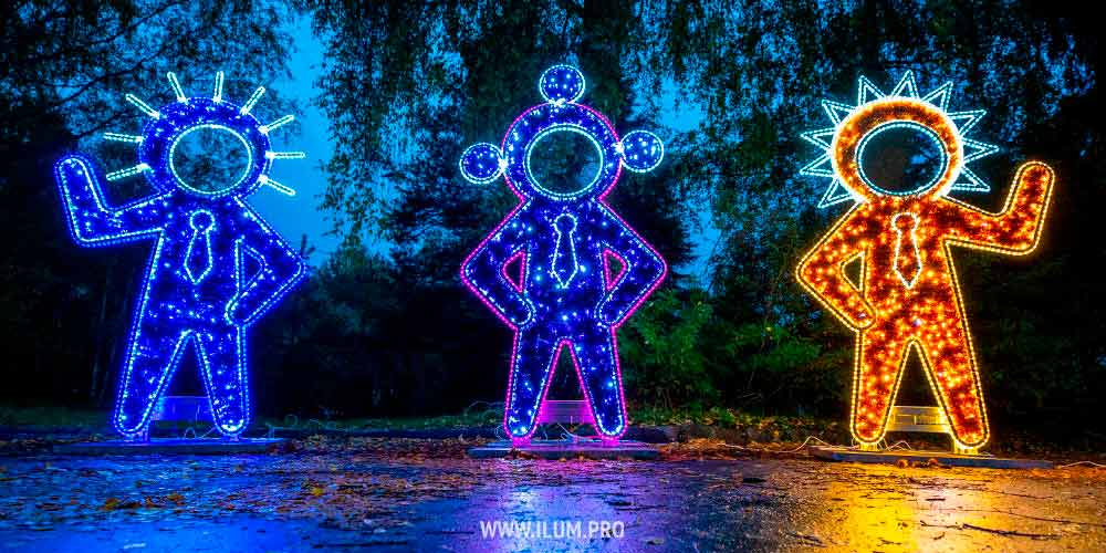 Фотозона с подсветкой гирляндами и мишурой «Инопланетяне»