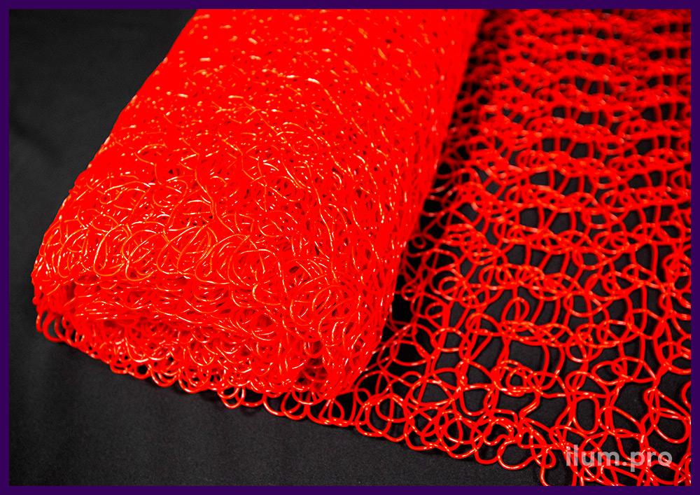 Сетка красная из пластика - декоративное покрытие для новогодних фигур с гирляндами