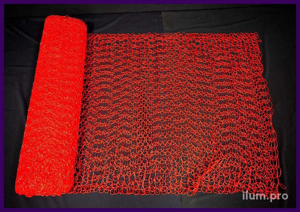 Красная пластиковая сетка из ПВХ, эластичный заполнитель для новогодней иллюминации