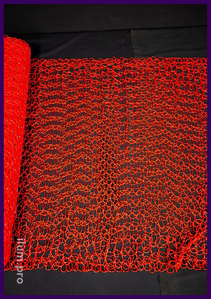 Сетка пластиковая с петлями из PVC (ПВХ) красного цвета, рулон длиной 10 м, ширина 1 м