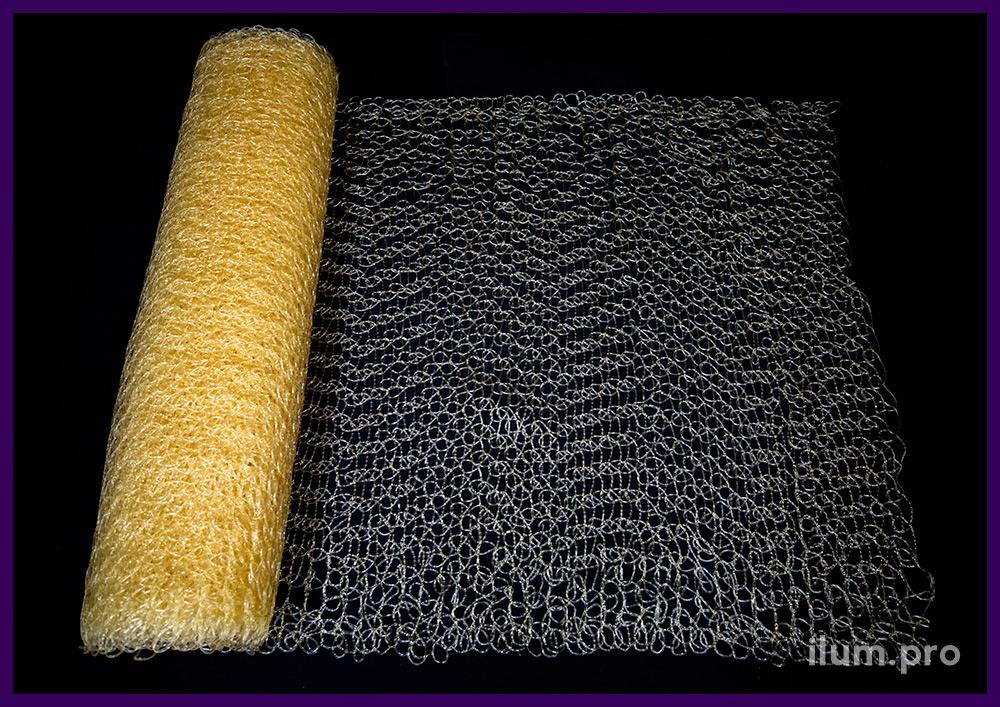 Рулон декоративной сетки из полупрозрачного ПВХ с кремовым оттенком, 10 метров
