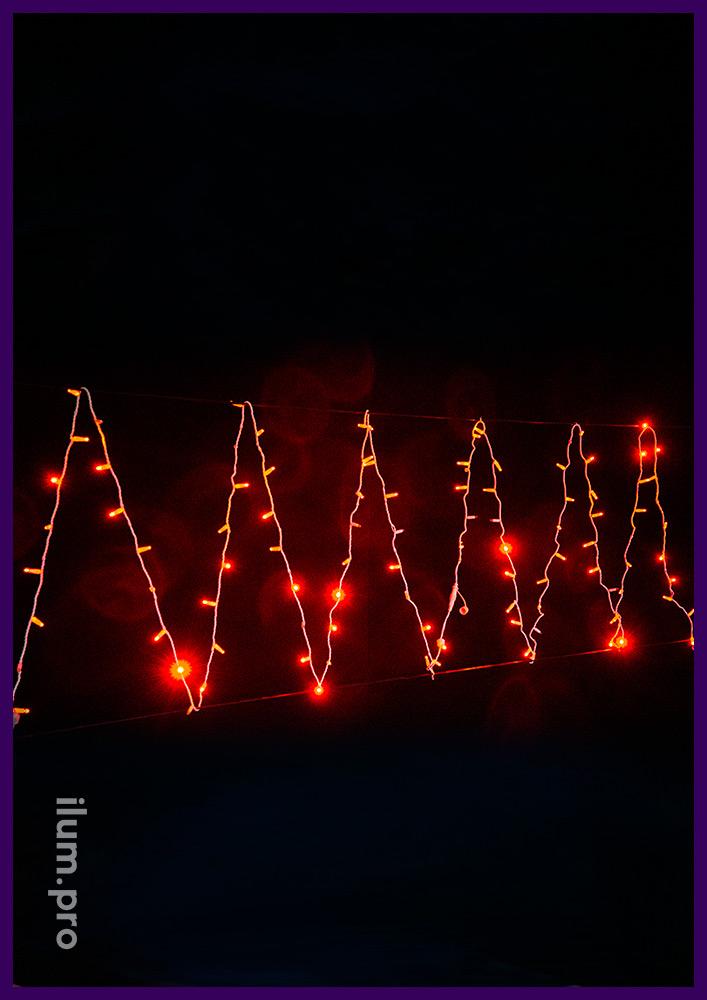 Светодиодная гирлянда нить красного цвета, провод из белого ПВХ, 220 В, эффект мерцания