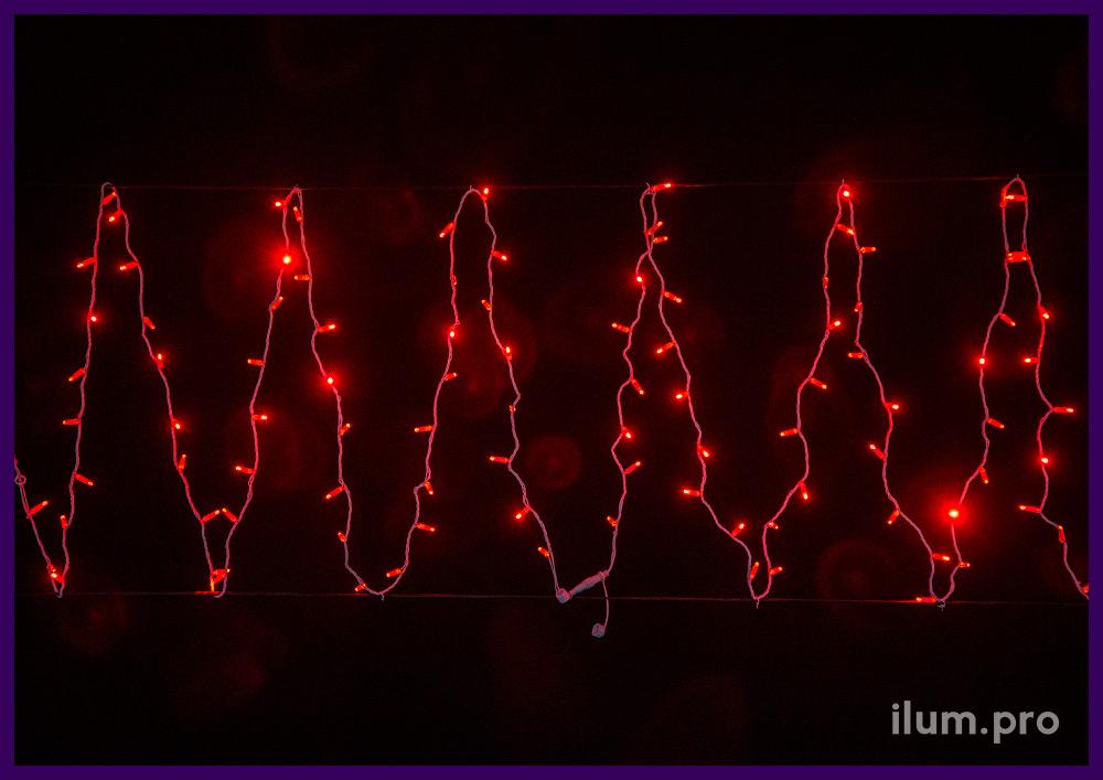 Красная гирлянда нить с белым проводом, статическое свечение, 10 метров, IP65
