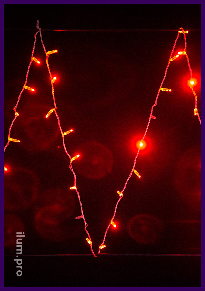 Светодиодная гирлянда мерцающая красная на прозрачном проводе, длина 10 метров