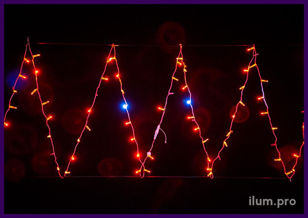 Стринг красный светодиодный с эффектом мерцания, прозрачный кабель из ПВХ и силикона, 10 м