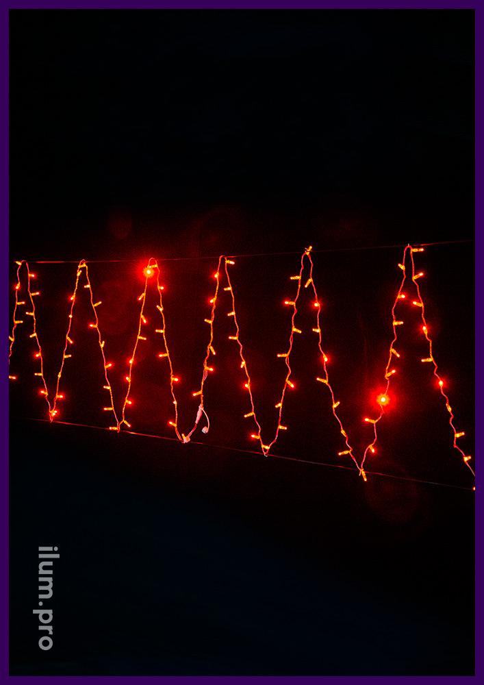 Cветодиодный стринг красного цвета, статическое свечение, длина 10 метров, 100 LED, IP65