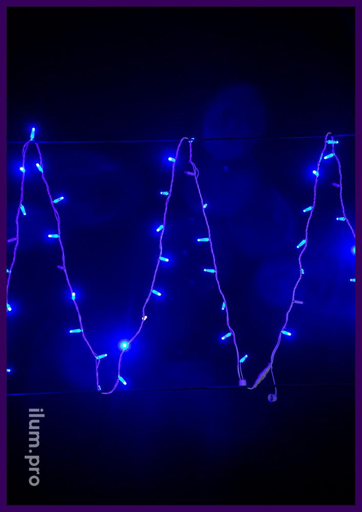 Гирлянда нить (стринг) светодиодный синего цвета, защита по стандарту IP65, белый ПВХ