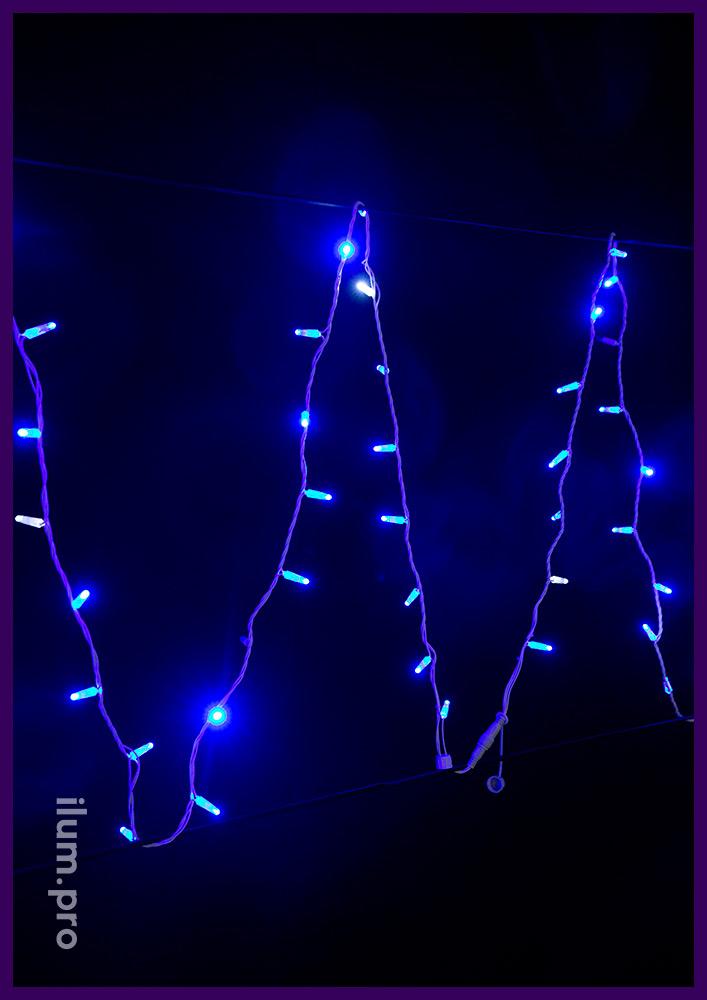 Стринг светодиодный синего цвета, гирлянда с эффектом мерцания на кабеле белого цвета из ПВХ