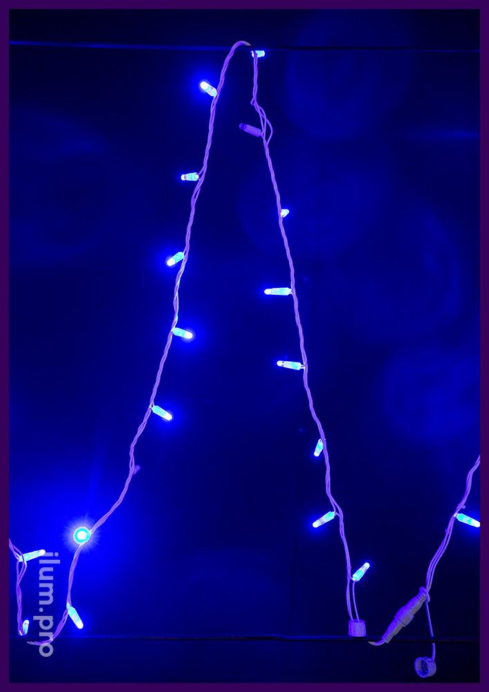 Гирлянда мерцающая синяя на белом проводе из ПВХ, длина 10 метров, 100 LED