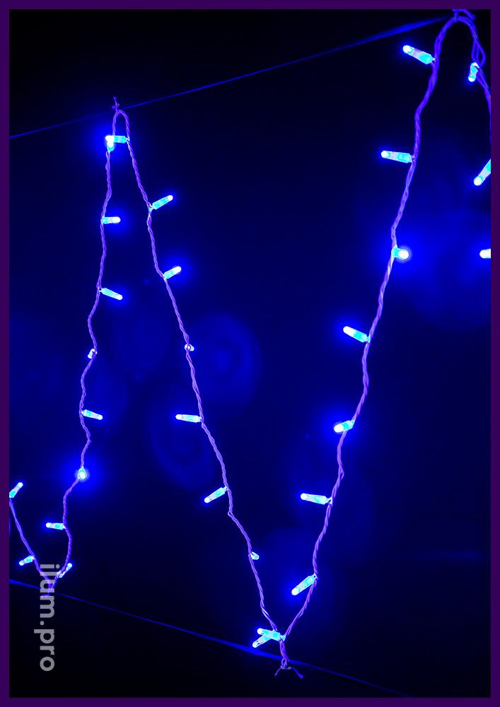 Статический светодиодный стринг синего свечения на белом проводе