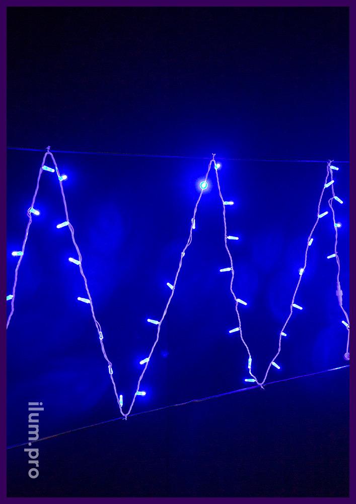 Новогодние гирлянды длиной 10 метров, синее свечение диодов, белый ПВХ