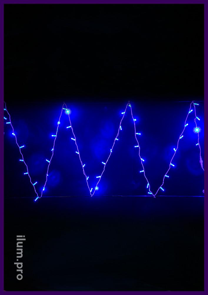 Гирлянда нить на белом проводе с диодами синего цвета, статика, 10 м