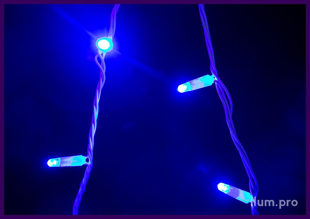 Гирлянда светодиодная с белым проводом из ПВХ, постоянное свечение синего цвета