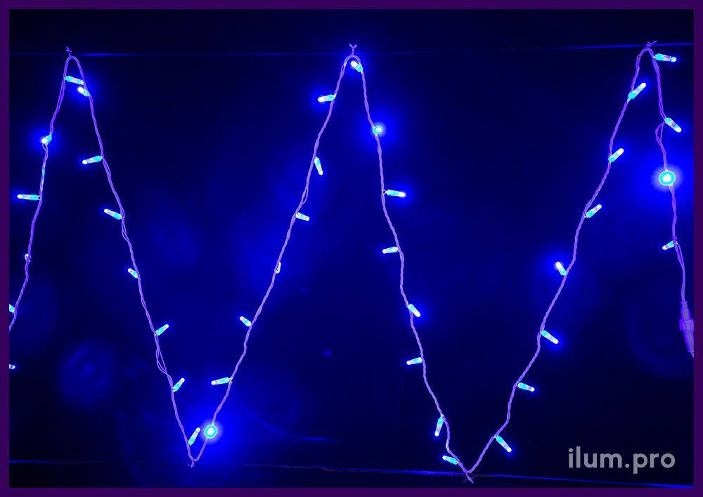 Стринг на белом кабеле с диодами синего цвета, статическое свечение, кабель из белого ПВХ